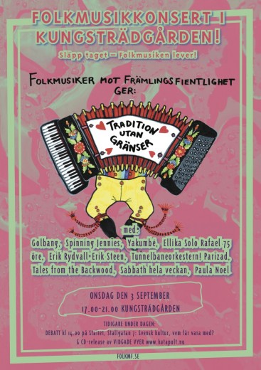 Affisch TRADITION UTAN GRÄNSER- Folkmusikkonsert i Kungsträdgården