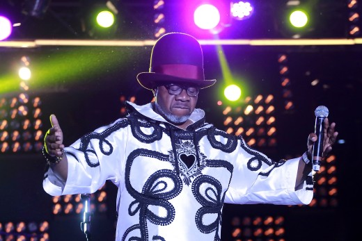 "Congolese music star Papa Wemba performs onstage during the Femua music festival in Abidjan on April 24, 2016 before collapsing on stage. The flamboyant world music singer died after collapsing during a set in the early hours of April 24 at the Urban Musical Festival Anoumabo (FEMUA) in Abidjan. Papa Wemba, renowned as the ""King of Congolese rumba"" for the fusion of Cuban and electronic rock that he pioneered in the 1970s, was 66. / AFP PHOTO / STRSTR/AFP/Getty Images ORG XMIT: 9547"